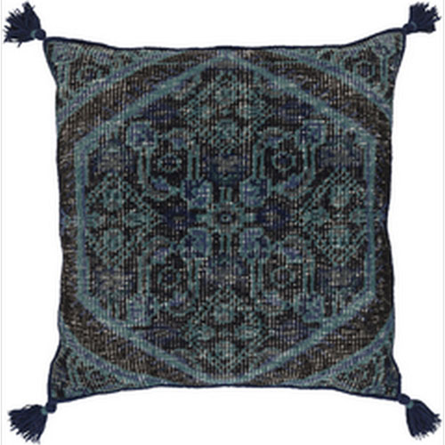 Wellington Navy and Charcoal 30 In. Throw Pillow with Down Fill