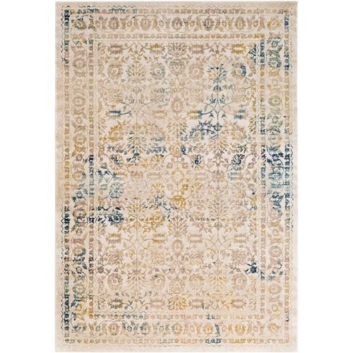 Whittier Taupe and Aqua Rectangular: 5 Ft. 3 In. x 7 Ft. 6 In. Rug