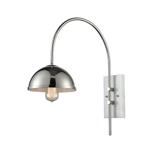 Nicollet Polished Nickel and White Marble One-Light Wall Sconce