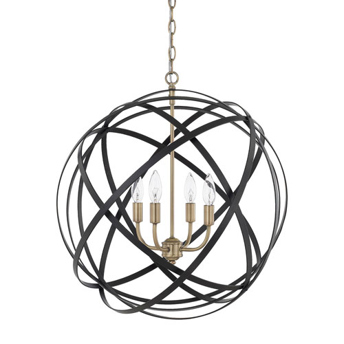 Cooper Aged Brass and Black Four-Light Pendant