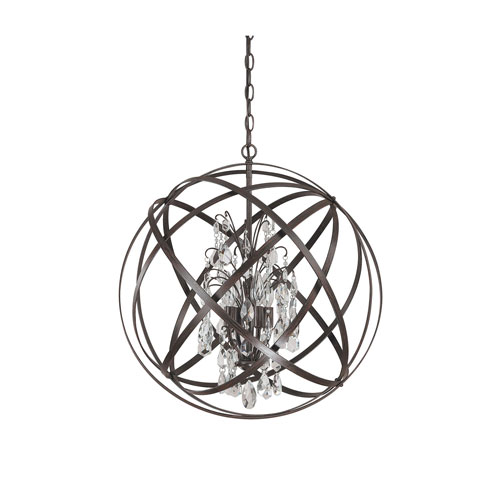 Cooper Rust Four-Light Pendant with Crystals
