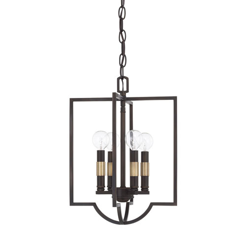 Selby Aged Brass and Old Bronze 12-Inch Four-Light Pendant