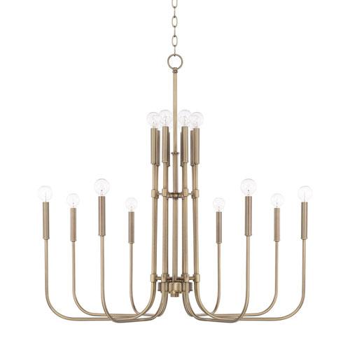 251 First Loring Aged Brass 16-Light Chandelier