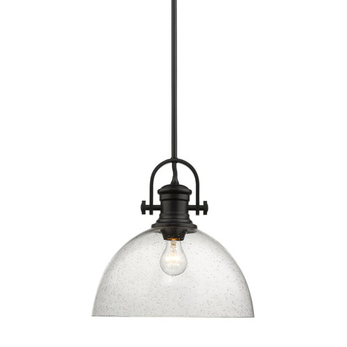 Afton Black 14-Inch One-Light Pendant with Seeded Glass