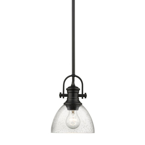 251 First Afton Black Seven-Inch One-Light Mini Pendant with Seeded Glass