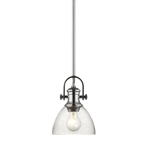 Afton Chrome Seven-Inch One-Light Mini Pendant with Seeded Glass