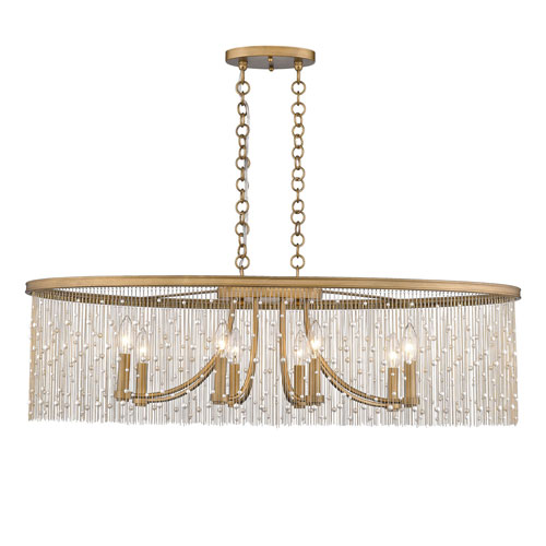 Vivian Gold 38-Inch Eight-Light Linear Pendant with Pearl Strands