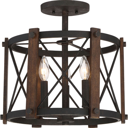 Afton Black 15-Inch Three-Light Semi Flush Mount