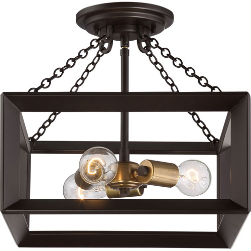 Savoy House Scout English Bronze 15 Inch Three Light Flush