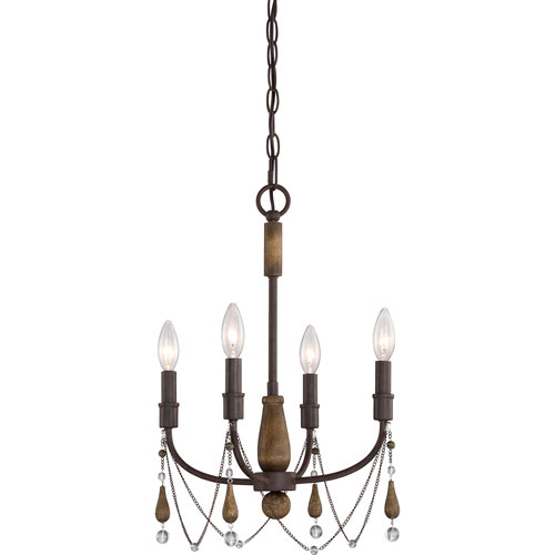 Evelyn Rust with Wood Four-Light Mini Chandelier