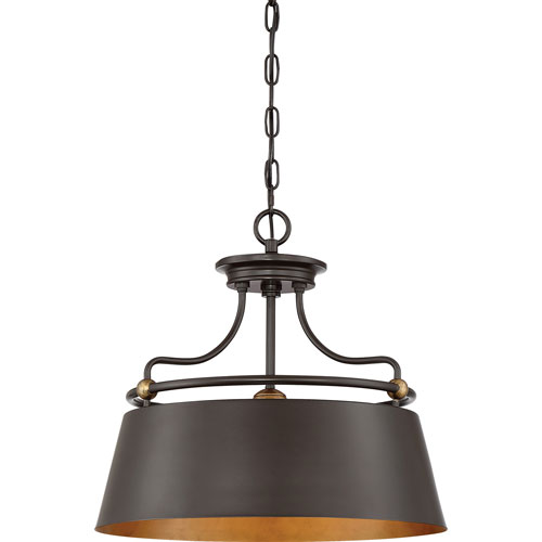 Afton Bronze 18-Inch Three-Light Pendant