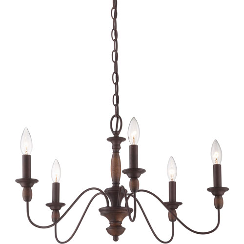 Evelyn Rust with Wood Five-Light Chandelier