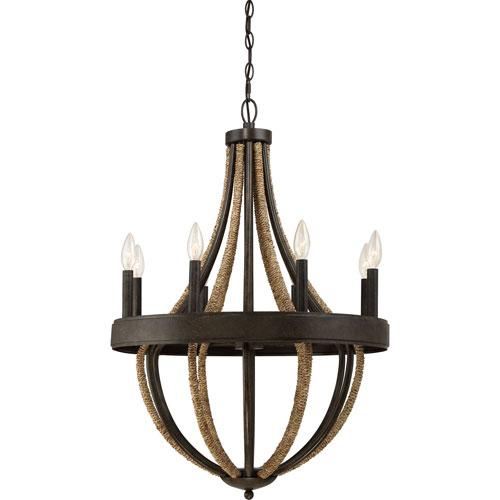 Afton Tarnished Bronze Eight-Light Chandelier