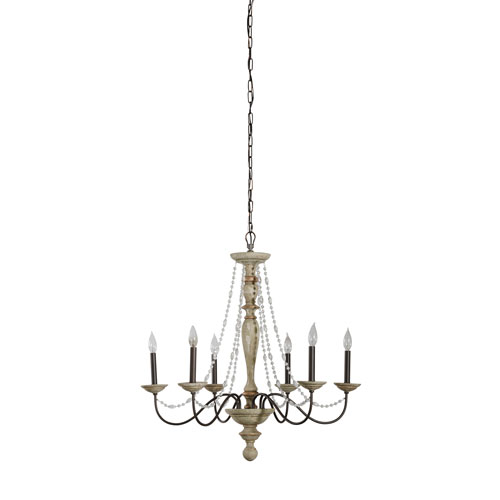 Hayden White Washed Wood Six-Light Chandelier with Crystal