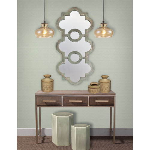 Whittier Antique Grey and Green Washed Wood Scalloped Mirror