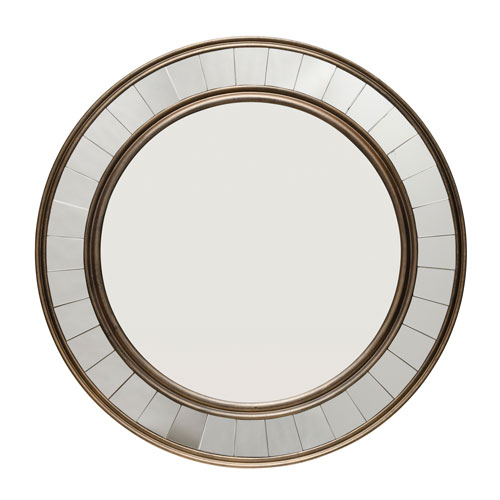 Isles Antique Bronzed Wood Round Mirror