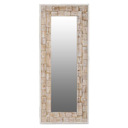 River Station White Washed Wood Rectangular Floor Mirror