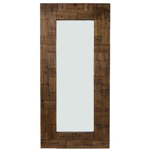 River Station Dark Brown Wood Rectangular Floor Mirror