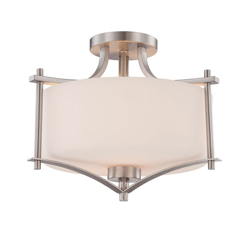 Nicollet Nickel and Pewter Two-Light Semi Flush Mount