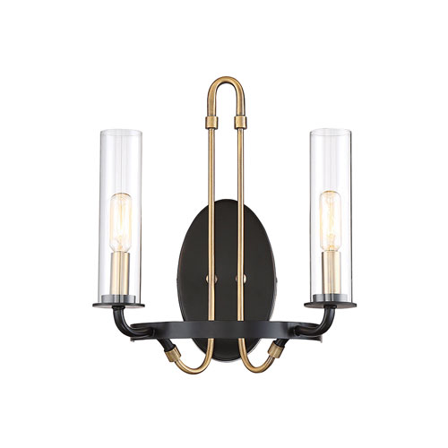 Whittier Vintage Black Two-Light Wall Sconce