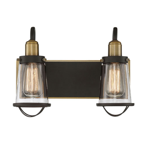 Afton Bronze and Warm Brass Two-Light Bath Vanity