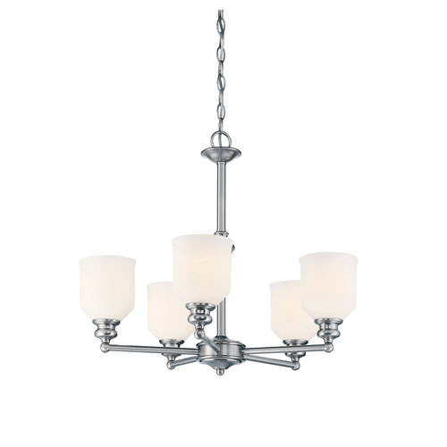 Evelyn Chrome and Polished Nickel Five-Light Chandelier