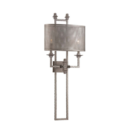 River Station Aged Steel Two-Light Wall Sconce