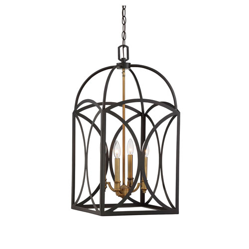 Whittier Bronze and Warm Brass Four-Light Chandelier