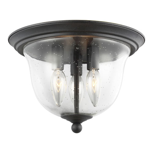 Selby Black Three-Light Flush Mount