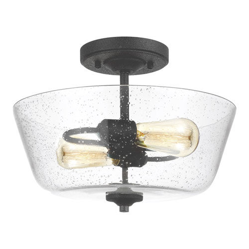 Selby Black Two-Light Semi Flush Mount