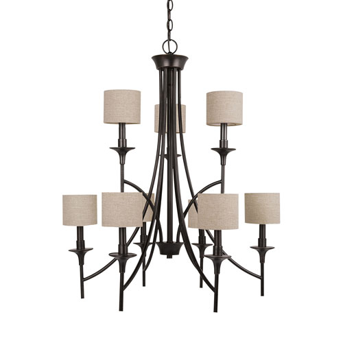 Selby Black with Bronze Accents Nine-Light LED Chandelier