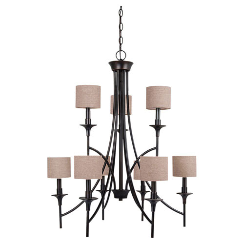 Selby Black with Bronze Accents Nine-Light Chandelier