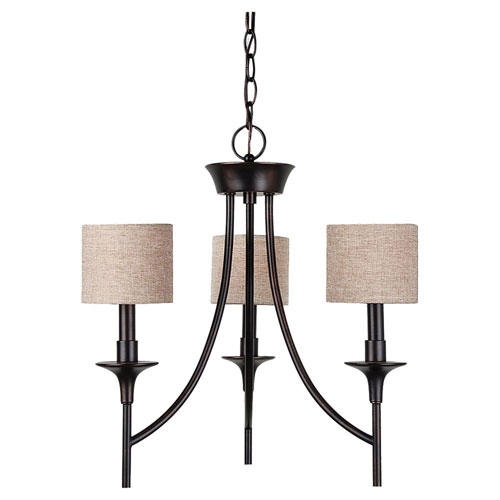 Selby Black with Bronze Accents Three-Light Chandelier