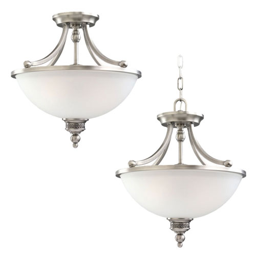 Evelyn Antique Brushed Nickel Two-Light Convertible Pendant