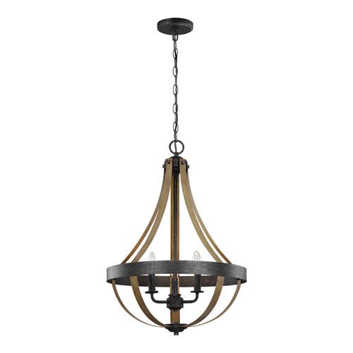 Afton Weathered Black with Wood Three-Light Chandelier