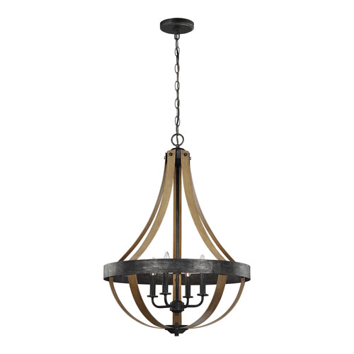 Afton Weathered Black with Wood Four-Light Chandelier