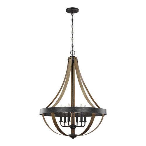 Afton Weathered Black with Wood Six-Light Chandelier