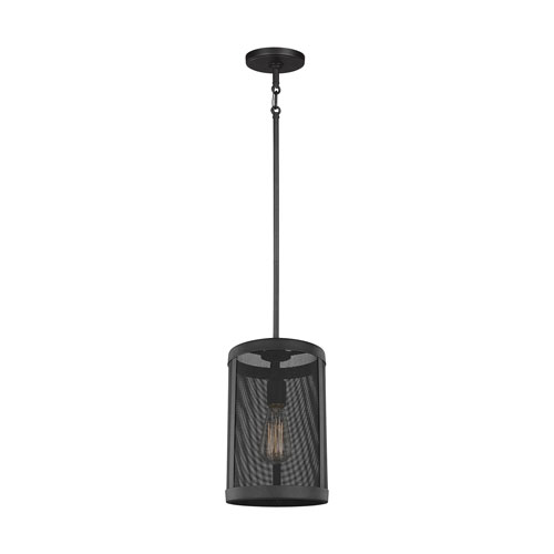 River Station Black One-Light Mini Pendant