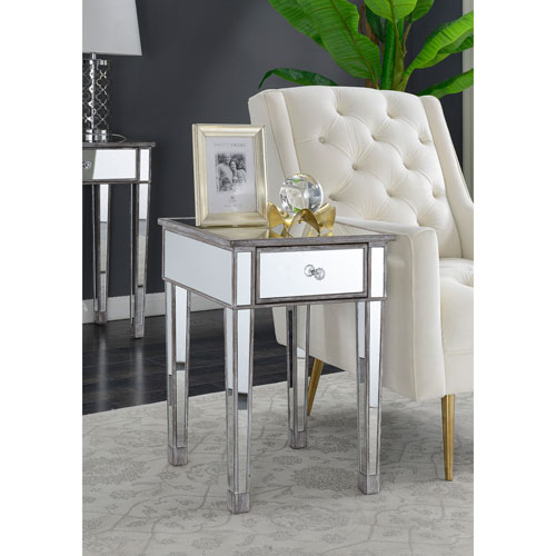 Vivian Mirrored End Table with Drawer