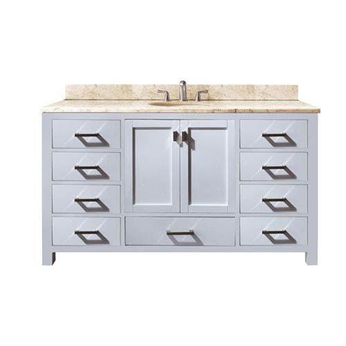 Nicollet 60-Inch White Single Vanity with Galala Beige Marble Top and Single Sink