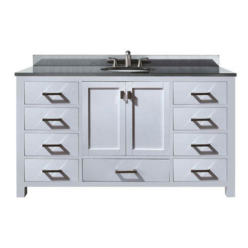 Nicollet 60-Inch White Single Vanity with Black Granite Top and Single Sink