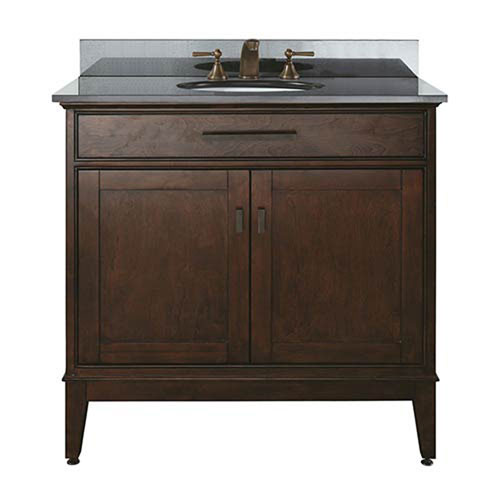 Evelyn Walnut 36-Inch Sink Vanity with Black Granite Top