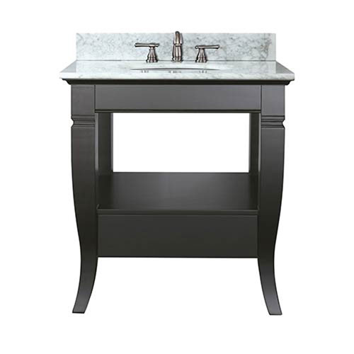 251 First Uptown Black 30 Inch Sink Vanity With Carrera White Top