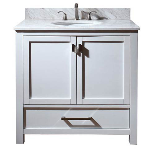 Nicollet White 36-Inch Sink Vanity with Carrera White Marble Top