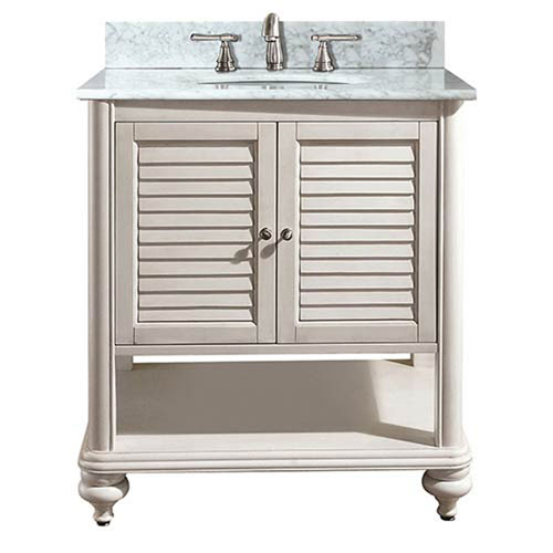 251 First Grace Antique White 30-Inch Sink Vanity with Carrera White Marble  Top - Antique White Bathroom Vanity Bellacor