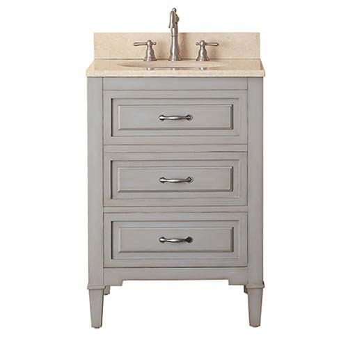 251 First Selby Grayish Blue 24-Inch Vanity Combo with Galala Beige Marble Top