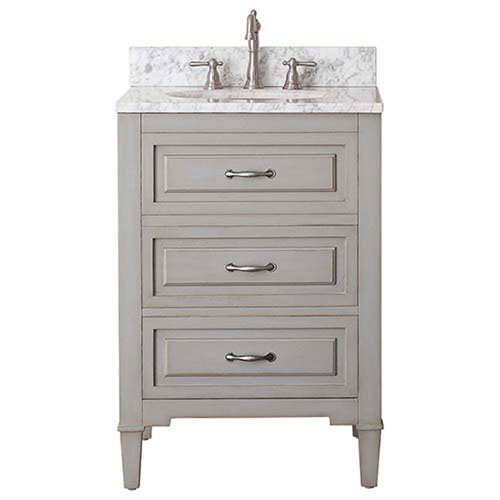251 First Selby Grayish Blue 24-Inch Vanity Combo with White Carrera Marble Top