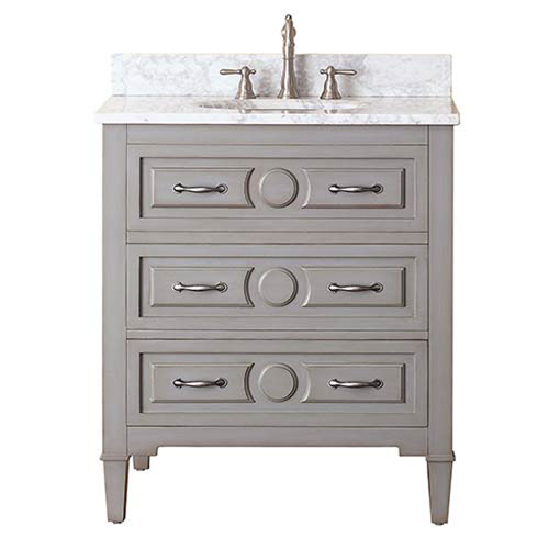 251 First Selby Grayish Blue 30-Inch Vanity Combo with White Carrera Marble Top