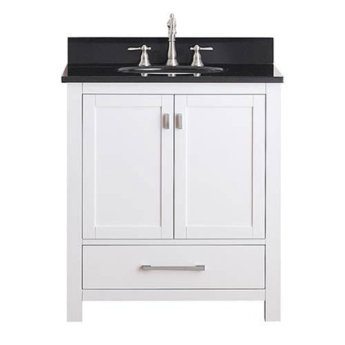 Whittier White 30 Inch Vanity Combo With Black Granite Top