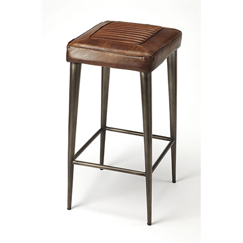 251 First Fulton Brown Leather Bar Stool